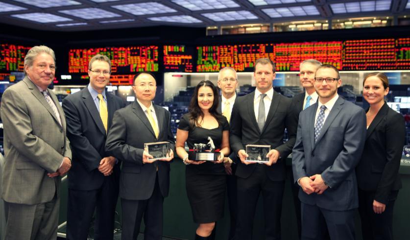 Award Ceremony für die drei Gewinner der Worldcup Championship 2013 am 09. Mai 2014 auf dem Floor der Chicago Mercantile Exchange (CME)